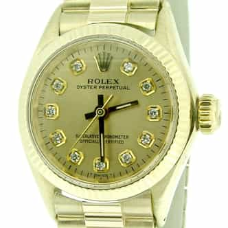Ladies Rolex Yellow Gold Oyster Perpetual Champagne Diamond (SKU 1603075CMT)