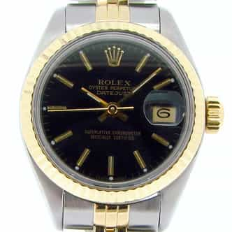 Ladies Rolex Two-Tone 18K/SS Datejust Black  69173 (SKU 7033813NMT)