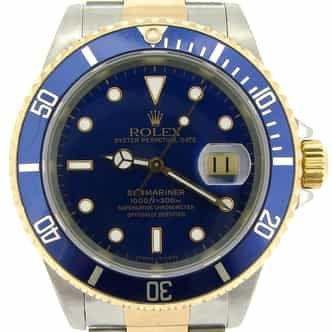 Mens Rolex Submariner Ref 16613 Two Tone Blue Dial (SKU U404474NBC)