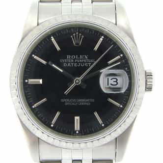 Mens Rolex Stainless Steel Datejust Black  16220 (SKU E172354NMT)