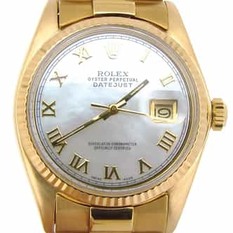 Mens Rolex 18K Yellow Gold Datejust MOP w/Gold Plated Band 1601 (SKU 4149078ABCMT)