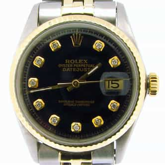 Mens Rolex Two-Tone 14K/SS Datejust Black Diamond 1601 (SKU 2523205NMT)