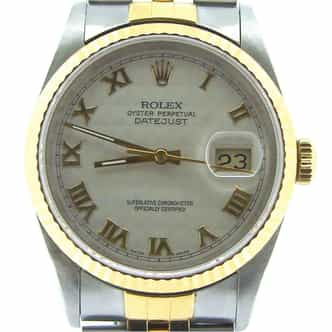 Mens Rolex Two-Tone 18K/SS Datejust Ivory Roman 16233 (SKU E665686NBCMT)