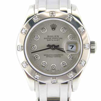 Ladies Rolex 18K White Gold Datejust Pearlmaster Silver Diamond 80319 (SKU 6699705NMT)