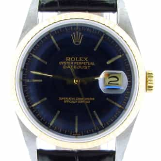 Mens Rolex Two-Tone 18K/SS Datejust Blue  16233 (SKU R767793NBLKBCMT)