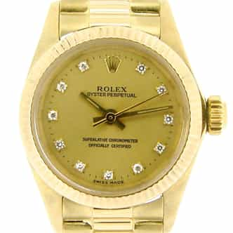 Ladies Rolex 18K Yellow Gold Oyster Perpetual Champagne Diamond 6719 (SKU 7234763NCMT)