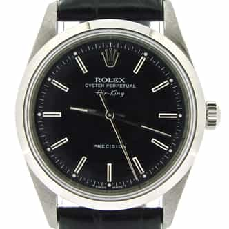 Mens Rolex Stainless Steel Air-King Black  14000 (SKU U630206NBLKCMT)
