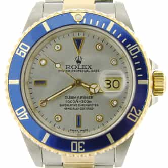 Mens Rolex Two-Tone 18K/SS Submariner Silver Diamond Blue 16613 (SKU S196437NNMT)