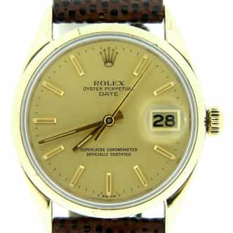 Mens Rolex 14K Gold Shell Date Champagne 1550 (SKU 3516508NMT)
