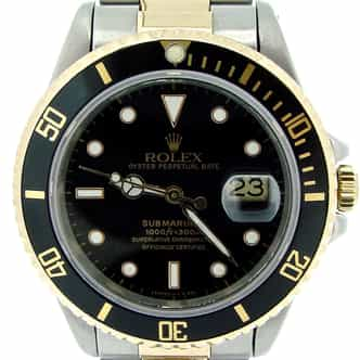Mens Rolex Two-Tone 18K/SS Submariner Black  16803 (SKU 9019483NNCMT)
