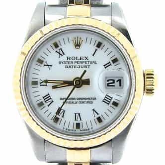 Ladies Rolex Two-Tone 18K/SS Datejust White Roman 69173 (SKU U378116NMT)