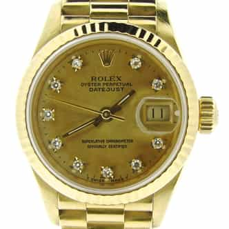 Ladies Rolex 18K Yellow Gold Datejust President Champagne Diamond 69178 (SKU E363626AMT)