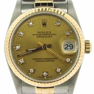 Mid Size Rolex Two-Tone 18K/SS Datejust Champagne Diamond 68273 (SKU N581297NMT)