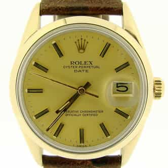 Mens Rolex 14K Gold Shell Date Champagne 1550 (SKU 6074234NMT)