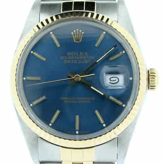 Mens Rolex 2Tone 18K/SS Datejust Blue Dial Watch 16013 (SKU R510340NMT)