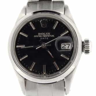 Ladies Rolex Stainless Steel Date Black  6516 (SKU 9425NMT)