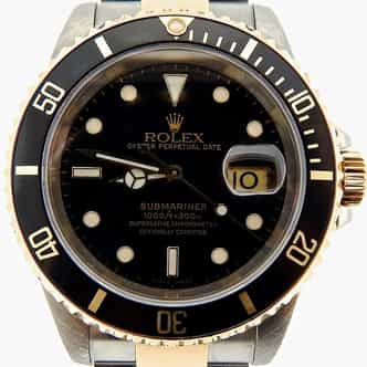 Mens Rolex Two-Tone 18K/SS Submariner Black  16613 (SKU P140411NNMT)
