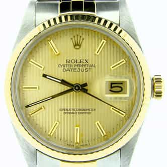 Mens Rolex Two-Tone 18K/SS Datejust Champagne  16013 (SKU 9717699NNMT)