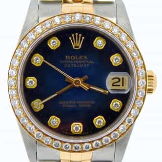 Mid Size Rolex Two-Tone Datejust Blue Vignette Diamond 68273 (SKU N513809NMT)