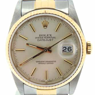 Mens Rolex Two-Tone 18K/SS Datejust Silver  16233 (SKU L538550NBCMT)