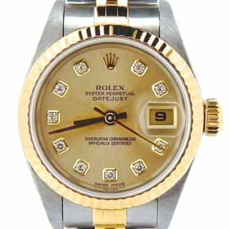 Ladies Rolex Two-Tone 18K/SS Datejust Champagne Diamond 69173 (SKU U416103NMT)