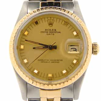 Mens Rolex Two-Tone Date Champagne 15053 (SKU 7511391NMT)