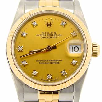 Mid Size Rolex Two-Tone 18K/SS Datejust Champagne Diamond 68273 (SKU R511237NMT)