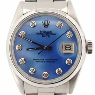 Mens Rolex Stainless Steel Date Blue MOP Diamond 1500 (SKU 2753116NMT)