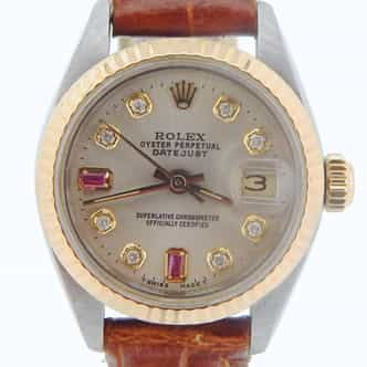 Ladies Rolex Two-Tone 14K/SS Datejust Silver Diamond Ruby 6917 (SKU 8032393NMT)
