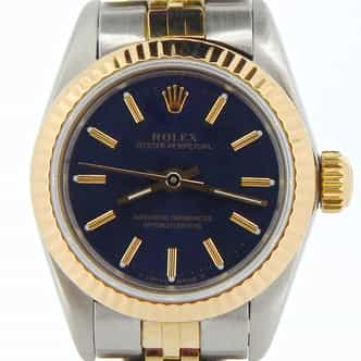 Ladies Rolex Two-Tone Oyster Perpetual Blue  67193 (SKU L297629NCMT)