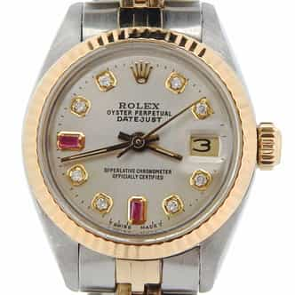 Ladies Rolex Two-Tone Datejust Silver Diamond Ruby 6917 (SKU JUB8032393NMT)