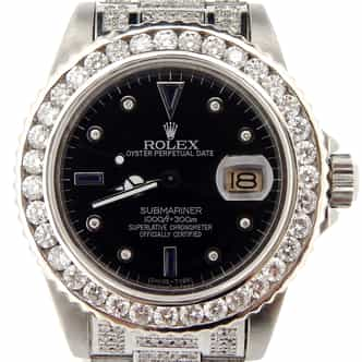 Mens Rolex Stainless Steel Submariner Black Diamond 16610 (SKU DC8445837NNBCMT)