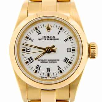 Ladies Rolex 18K Yellow Gold Oyster Perpetual White Roman 67188 (SKU T469355CMT)