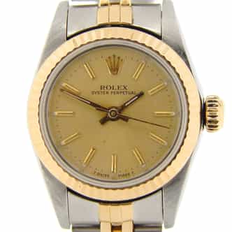 Ladies Rolex Two-Tone 18K/SS Oyster Perpetual Champagne  67193 (SKU R408479NMT)
