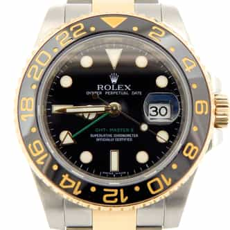 Mens Rolex Two-Tone 18K/SS GMT Master II Black Ceramic 116713 (SKU M886740MT)