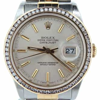 Mens Rolex Two-Tone 18K/SS Datejust Silver Diamond 16233 (SKU L747182NBCMT)