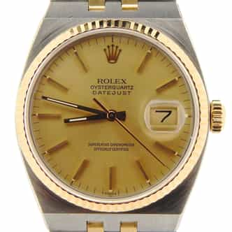 Mens Rolex Two-Tone 18K/SS Oysterquartz Datejust Champagne 17013 (SKU 9067785NMT)