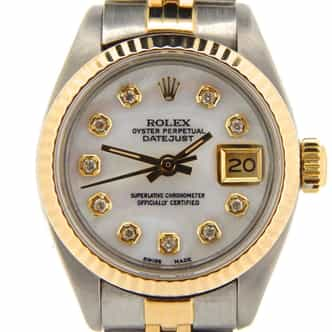 Ladies Rolex Two-Tone 18K/SS Datejust White MOP Diamond 69173 (SKU 7542675NMT)