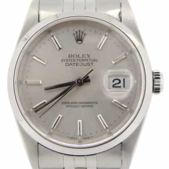 Mens Rolex Stainless Steel Datejust Silver 16200 (SKU D477473NMT)