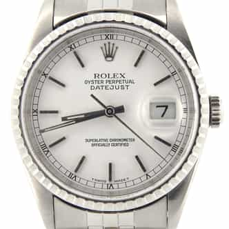 Mens Rolex Stainless Steel Datejust White  16220 (SKU E373429NMT)