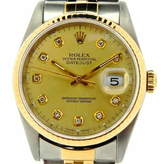 Mens Rolex Two-Tone 18K/SS Datejust Champagne Diamond 16233 (SKU Y190074NMDMT)