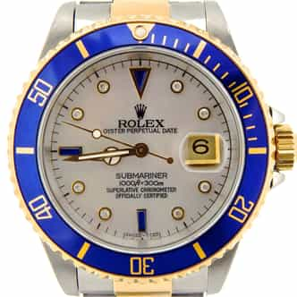 Mens Rolex Two-Tone 18K/SS Submariner White MOP Diamond Blue 16803 (SKU 7677306NNCMT)