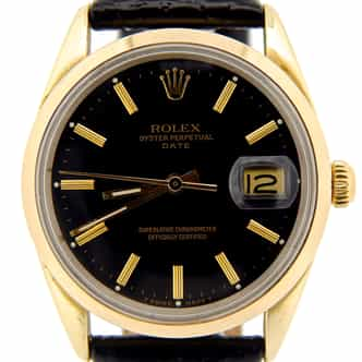 Mens Rolex 14K Gold Shell Date Black 15505 (SKU 61402NBLKBMT)