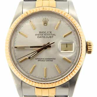 Mens Rolex Two-Tone 18K/SS Datejust Silver  16013 (SKU 9758362NMT)