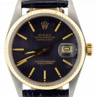 Mens Rolex Two-Tone Datejust Black Tapestry  16013 (SKU 5510798NBLKMT)
