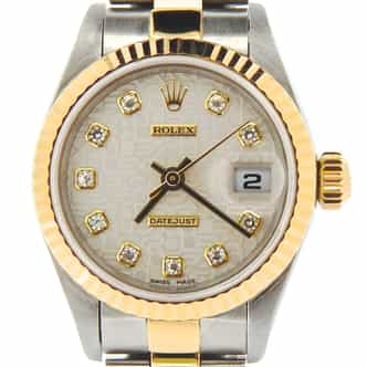Ladies Rolex Two-Tone Datejust Silver Anniversary Diamond 79173 (SKU P175508NDMT)