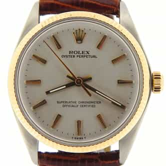 Mens Rolex Two-Tone 14K/SS Oyster Perpetual Silver  1005 (SKU 5335946NNCMT)