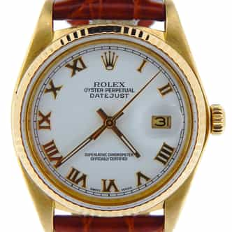 Pre Owned Mens Rolex Yellow Gold Datejust with a White Roman Dial 16018 (SKU 7412517NBRNBCDM)