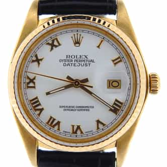 Mens Rolex 18K Yellow Gold Datejust White Roman 16018 (SKU 7412517NBLKBCDMT)