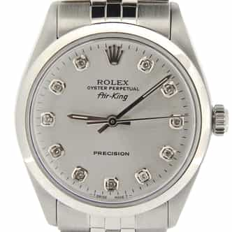 Mens Rolex Stainless Steel Air-King Silver Diamond 5500 (SKU 9762957NJUBCMT)